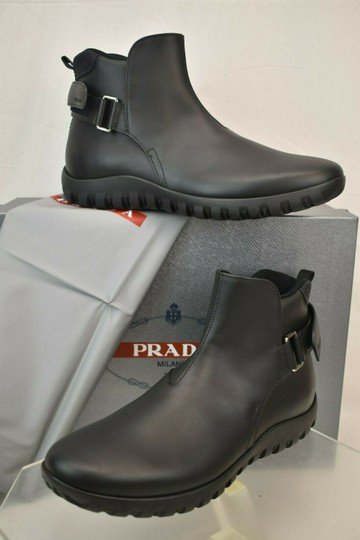 Prada Black Leather Belted Buckle Lettering Logo Strap Sneakers Boots 7 Us 8 Shoes Image 1