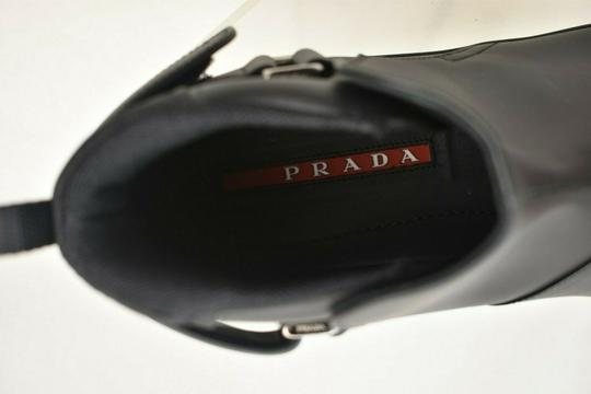 Prada Black Leather Belted Buckle Lettering Logo Strap Sneakers Boots 7 Us 8 Shoes Image 10