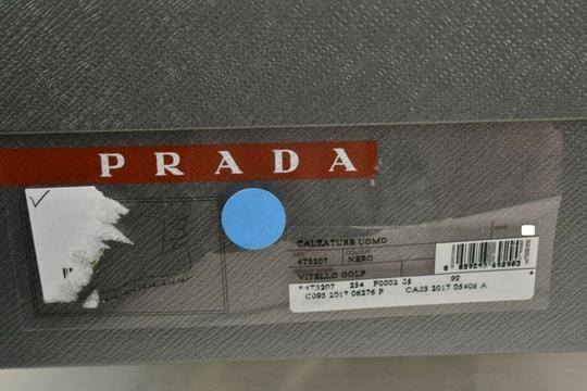 Prada Black Leather Belted Buckle Lettering Logo Strap Sneakers Boots 7 Us 8 Shoes Image 11