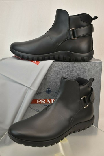 Prada Black Leather Belted Buckle Lettering Logo Strap Sneakers Boots 7 Us 8 Shoes Image 2