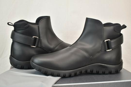 Prada Black Leather Belted Buckle Lettering Logo Strap Sneakers Boots 7 Us 8 Shoes Image 3