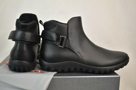 Prada Black Leather Belted Buckle Lettering Logo Strap Sneakers Boots 7 Us 8 Shoes Image 4