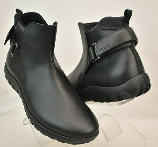 Prada Black Leather Belted Buckle Lettering Logo Strap Sneakers Boots 7 Us 8 Shoes Image 5