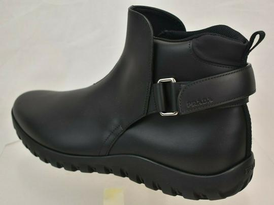 Prada Black Leather Belted Buckle Lettering Logo Strap Sneakers Boots 7 Us 8 Shoes Image 6