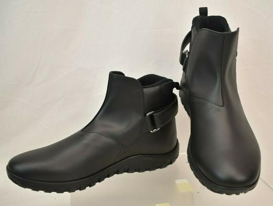 Prada Black Leather Belted Buckle Lettering Logo Strap Sneakers Boots 7 Us 8 Shoes Image 7