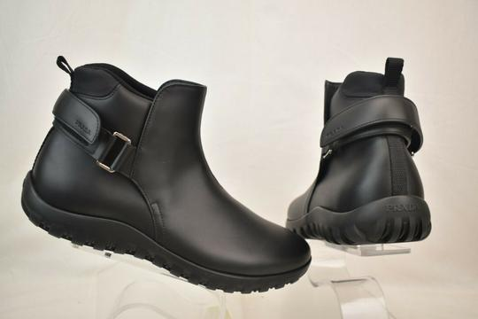 Prada Black Leather Belted Buckle Lettering Logo Strap Sneakers Boots 7 Us 8 Shoes Image 8