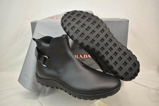 Prada Black Leather Belted Buckle Lettering Logo Strap Sneakers Boots 7 Us 8 Shoes Image 9
