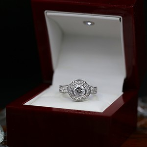 White Amazing Gold with 2.35ct. Total Engagement Ring