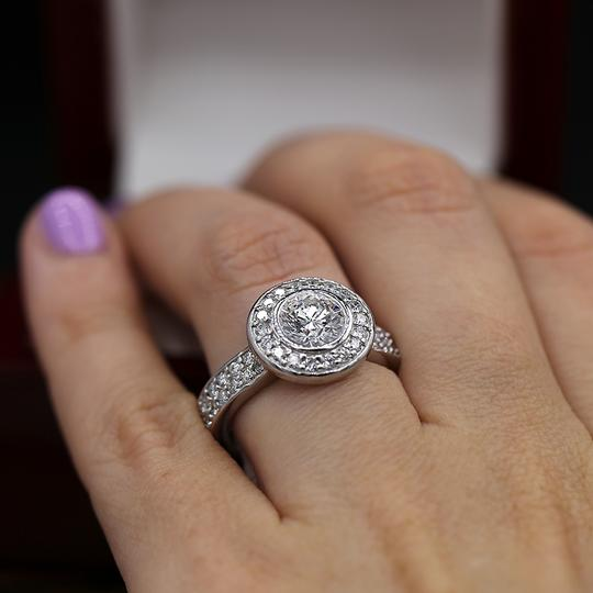 White Amazing Gold with 2.35ct. Total Engagement Ring Image 4