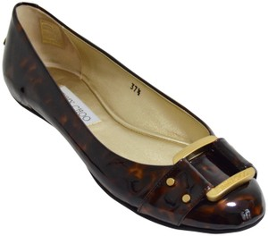 Jimmy Choo Buckle Patent Leather New Tortoise Print Flats