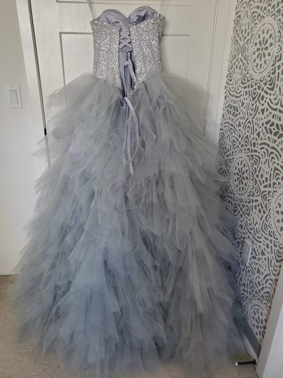Silver Grey Tulle Sweetheart Sequins Puffy Poofy Ruffles Gala Ball Gown Feminine Wedding Dress Size 4 (S) Image 1