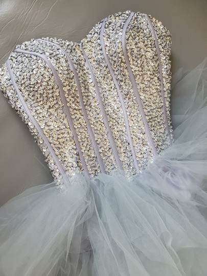 Silver Grey Tulle Sweetheart Sequins Puffy Poofy Ruffles Gala Ball Gown Feminine Wedding Dress Size 4 (S) Image 10