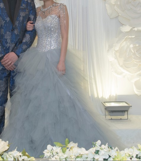 Silver Grey Tulle Sweetheart Sequins Puffy Poofy Ruffles Gala Ball Gown Feminine Wedding Dress Size 4 (S) Image 11