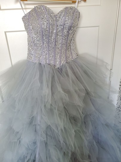 Silver Grey Tulle Sweetheart Sequins Puffy Poofy Ruffles Gala Ball Gown Feminine Wedding Dress Size 4 (S) Image 2