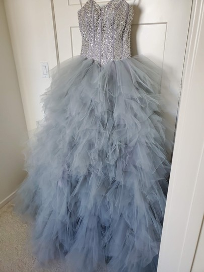 Silver Grey Tulle Sweetheart Sequins Puffy Poofy Ruffles Gala Ball Gown Feminine Wedding Dress Size 4 (S) Image 3