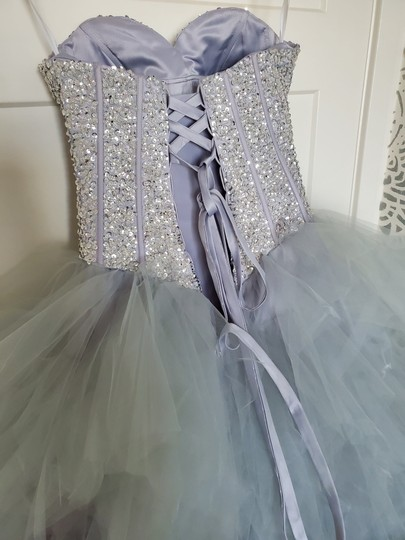 Silver Grey Tulle Sweetheart Sequins Puffy Poofy Ruffles Gala Ball Gown Feminine Wedding Dress Size 4 (S) Image 6