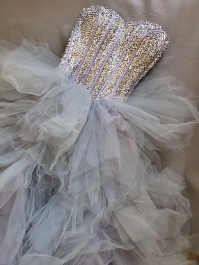 Silver Grey Tulle Sweetheart Sequins Puffy Poofy Ruffles Gala Ball Gown Feminine Wedding Dress Size 4 (S) Image 8