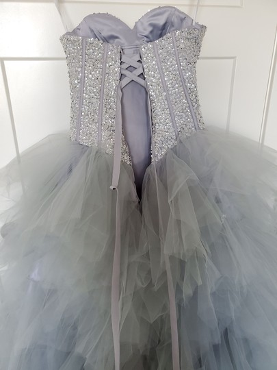Silver Grey Tulle Sweetheart Sequins Puffy Poofy Ruffles Gala Ball Gown Feminine Wedding Dress Size 4 (S) Image 9