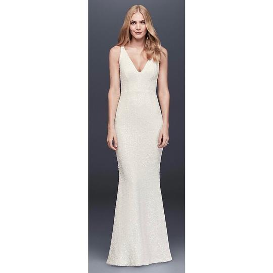 DB Studio White Polyester Allover Sequined V-neck Sheath Gown Feminine Wedding Dress Size 2 (XS) Image 0