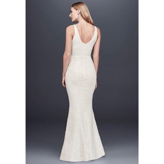 DB Studio White Polyester Allover Sequined V-neck Sheath Gown Feminine Wedding Dress Size 2 (XS) Image 1
