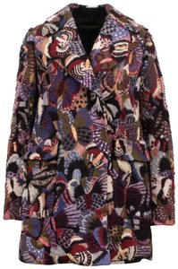 Valentino Wool Embroidered Beaded Detail Animal Print Pea Coat
