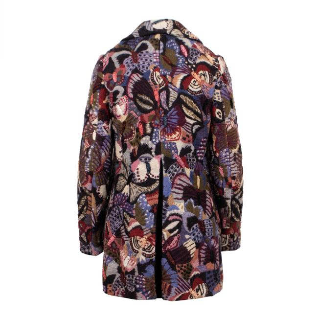 Valentino Wool Embroidered Beaded Detail Animal Print Pea Coat Image 1