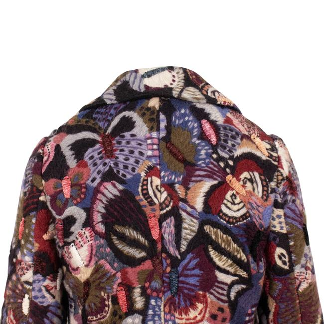 Valentino Wool Embroidered Beaded Detail Animal Print Pea Coat Image 4