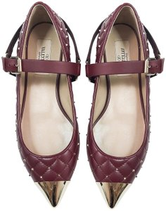 Valentino Rockstud Spike Studded Pointed Toe RUBY RED Flats