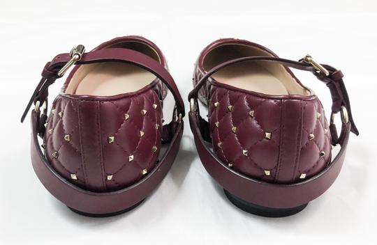Valentino Rockstud Spike Studded Pointed Toe RUBY RED Flats Image 2