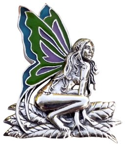 Peter Stone Fine Jewelry Beautiful Designer Crafted Sterling Silver Fairy Pendant With Enamel Inlay