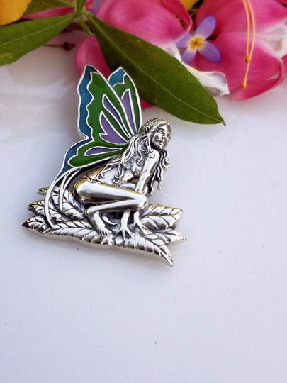 Peter Stone Fine Jewelry Beautiful Designer Crafted Sterling Silver Fairy Pendant With Enamel Inlay Image 1