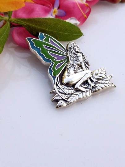 Peter Stone Fine Jewelry Beautiful Designer Crafted Sterling Silver Fairy Pendant With Enamel Inlay Image 2