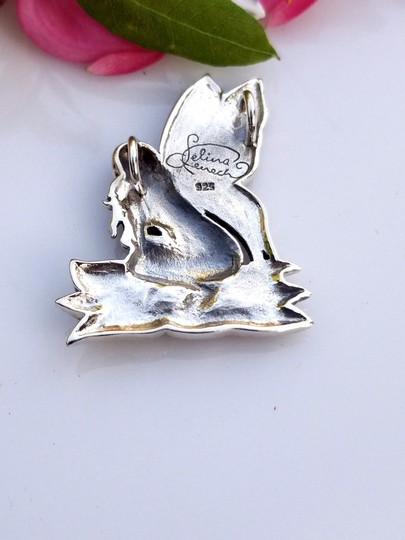 Peter Stone Fine Jewelry Beautiful Designer Crafted Sterling Silver Fairy Pendant With Enamel Inlay Image 3
