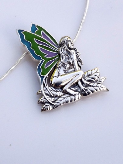 Peter Stone Fine Jewelry Beautiful Designer Crafted Sterling Silver Fairy Pendant With Enamel Inlay Image 5