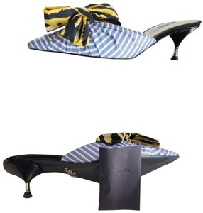 Prada Slides Stripped Bow Pointed Toe Blue/ Yellow Mules