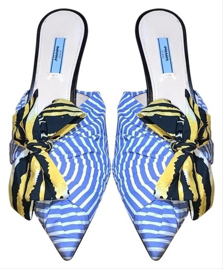 Prada Slides Stripped Bow Pointed Toe Blue/ Yellow Mules Image 1