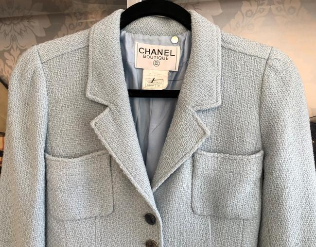 Chanel Silk Wool Baby Blue Jacket Image 1