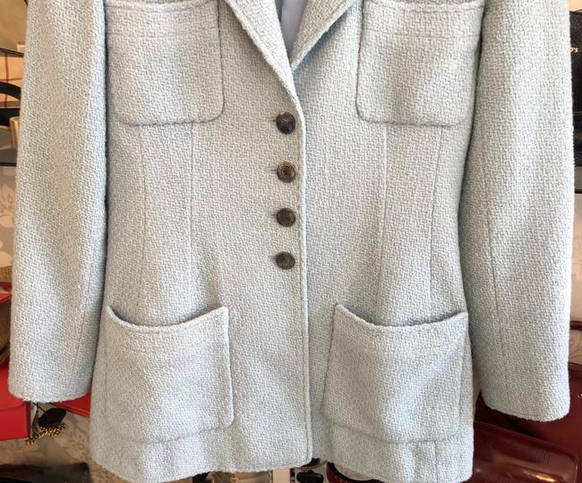 Chanel Silk Wool Baby Blue Jacket Image 2