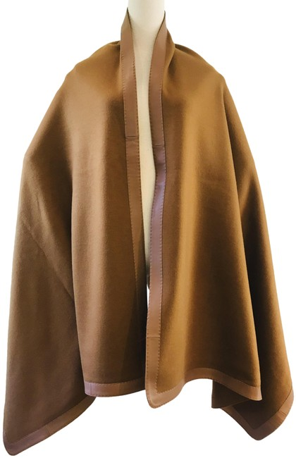 Item - Brown New 2018 Fall Wool Leather-accented Poncho/Cape Size OS (one size)