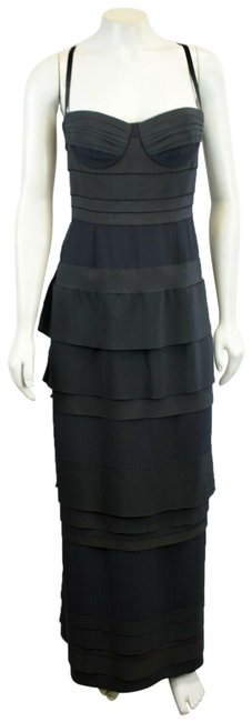 Item - Black Lv Evening Gown Panneled Ribbon Bustier 38 Long Night Out Dress Size 2 (XS)