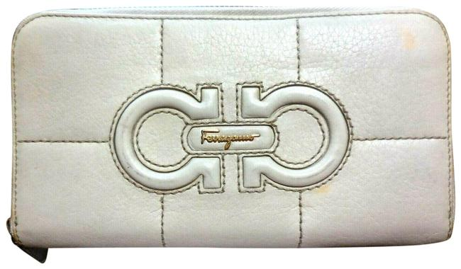 Item - White Leather with Brown Contrast Stitching and A Quilted Double Gancini Zip Around Continental Wallet