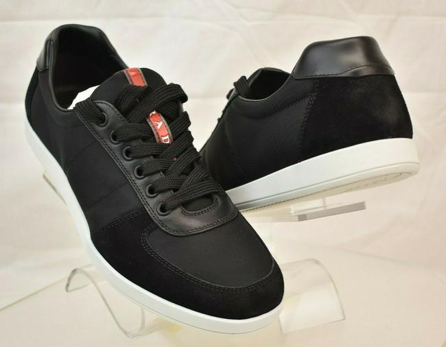 Item - Black 4e3228 Nylon Suede Quilted Lace Up Low Top Sneakers 6.5 Us 7.5 Shoes