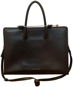 Strathberry Leather Gold Hardware Adjustable Detachable Strap Classic Tote in Black