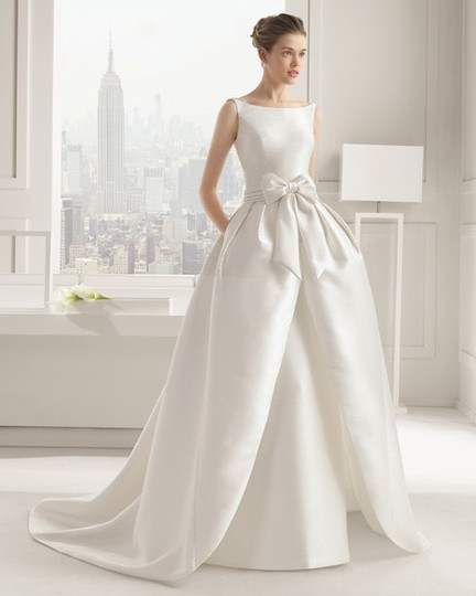 Mikado Wedding Gown: Rosa Clará Mikado Casual Gown With Bow Overskirt Modern