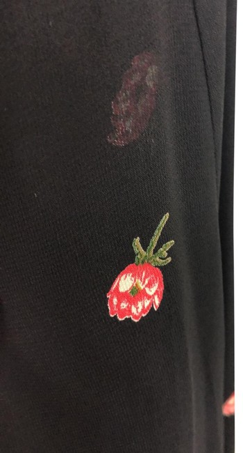 Item - Black with Red Flowers Low Cut Mini Short Night Out Dress Size 2 (XS)
