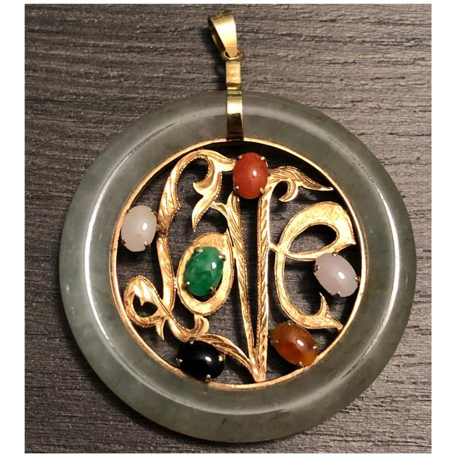 Item - Moss Green Dark Green Red White Green Black & Yellow Gold Multicolor Stone Love Large Jade Pendant