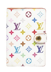 Louis Vuitton 491406 White and Multicolor Coated Canvas Takashi Address Book