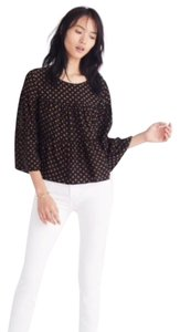 Madewell Silk Heart Print Tiered Theory Alice Top black gold