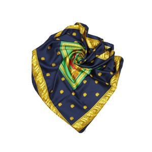 Céline Celine Blue Navy with Multi Silk Fabric Printed Scarf France SMALL