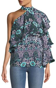 Parker Floral Ruffle Tiered One Shoulder Top Blue